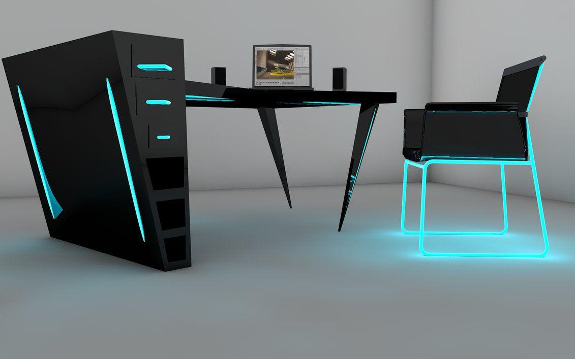 Deviantart More Like Desk Design Cinema 4d By Hasii Puuh Desk Design Desk Neon Furniture