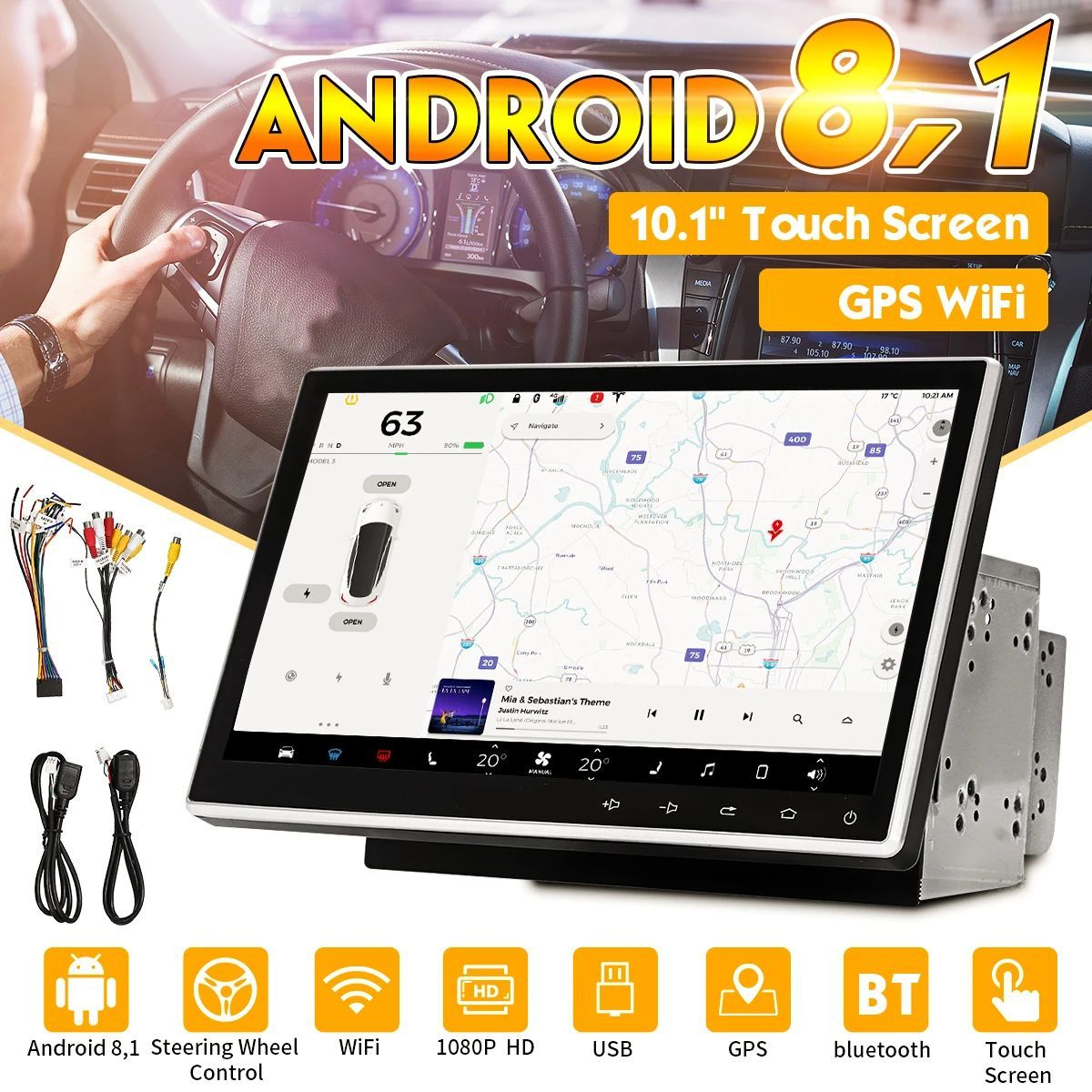 10 1 Inch 2 Din For Android 8 1 Car Multimedia Adjustable Touch Screen 8 Core 1gb 16gb In Dash Radio Stereo Gps Nav Wifi Bluetooth Car Audio Monitor From Auto 2020
