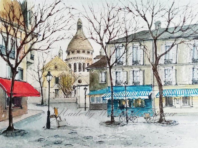 Paris Original Watercolor City Painting Montmartre Drawing Paris