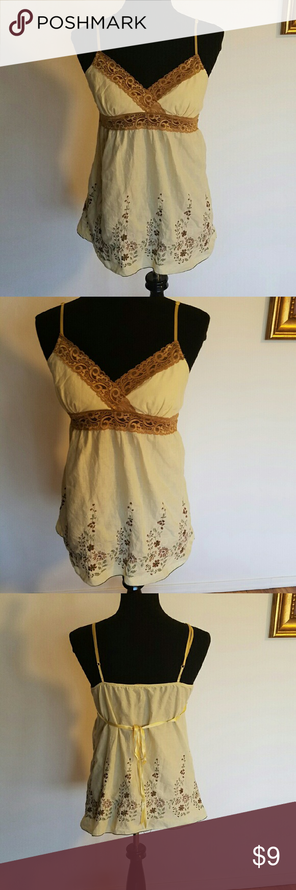 Canary yellow embroidered top Lightweight cotton and lace top Tops