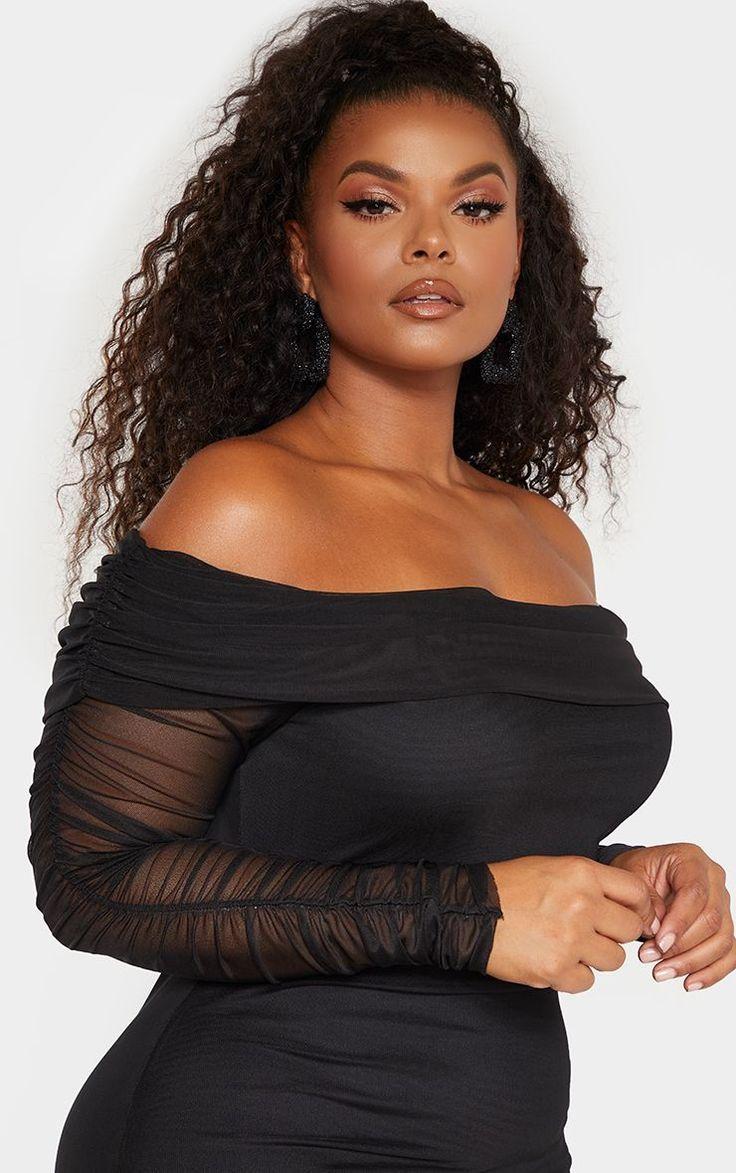 Photo of Plus Black Ruched Bardot