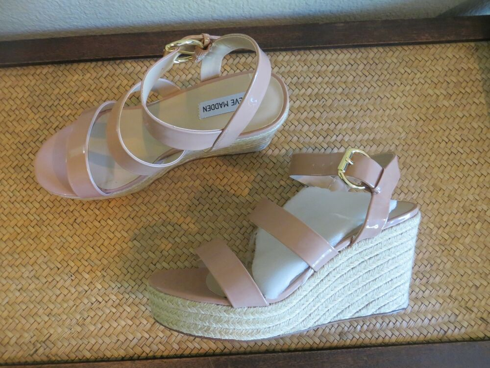 e8fdeec0d13 NWOB WOMENS STEVE MADDEN VALERY ESPADRILLE WEDE PATENT NUDE BEIGE SIZE 10   fashion  clothing