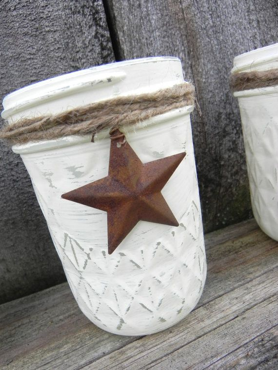 Upcycled Jar Collection Rustic Country Votive Holder...  Shabby Chic Jars... Christmas Decoration... Holiday Table... Small Shabby Vase
