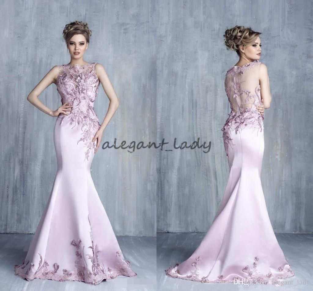 Tony Chaaya 2018 Evening Dresses lavender Satin Beads Mermaid Prom ...