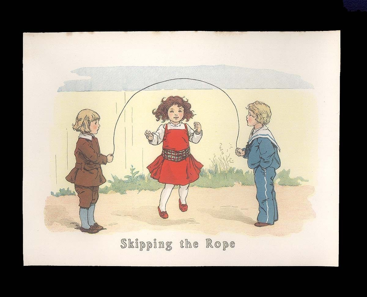Children's Nursery Picture from the Edwardian Era, Antique Color Print from 1913 - Children Playing Jump Rope