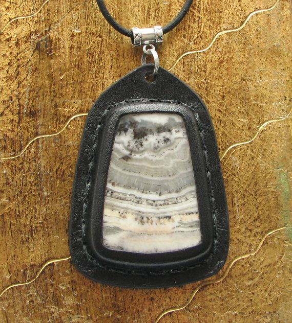 Stone & Leather Pendant / Bohemian Necklace w Silver by aosLeather, $65.00
