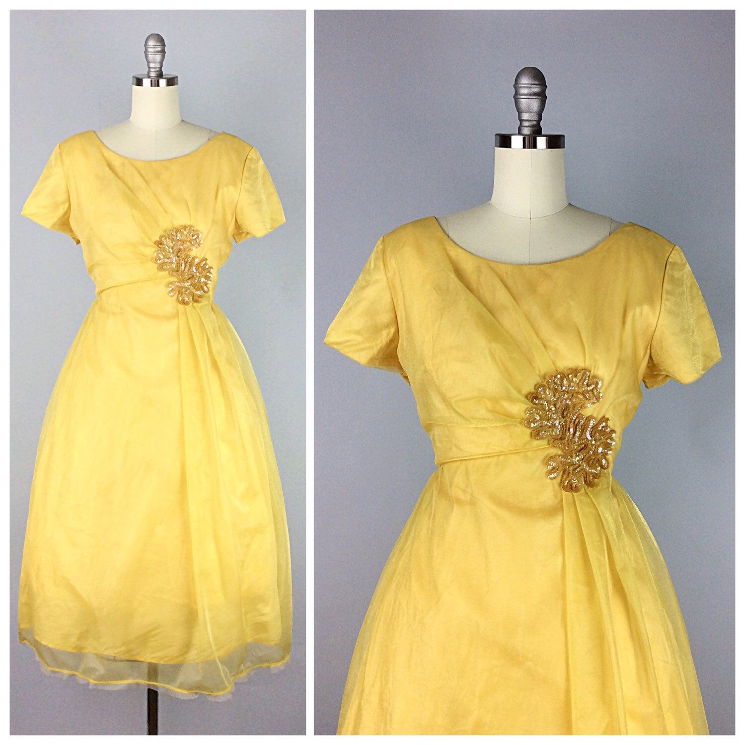 60S Yellow Emma Domb Dress  1960S Vintage Sequin Party
