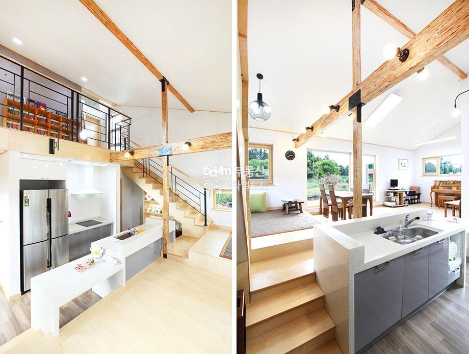 벽 대신 단차로 공간을 나눈 전원주택 - Daum 부동산 인테리어 ...