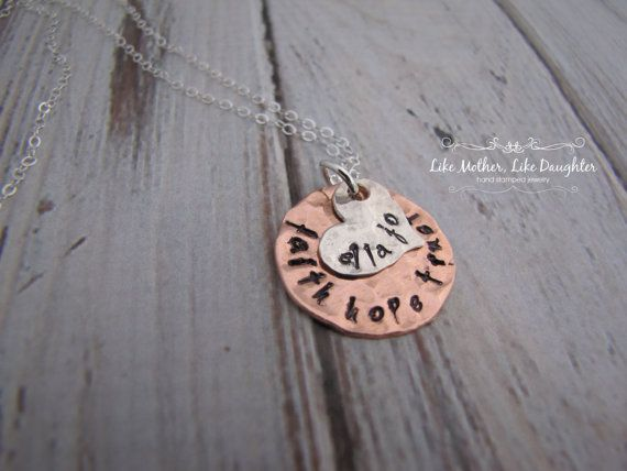 Hand Stamped Personalized Necklace  Mixed by MotherDaughterJewel, $29.00