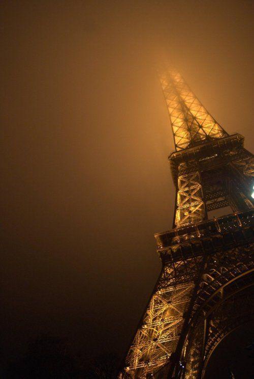 foggy Eiffel tower