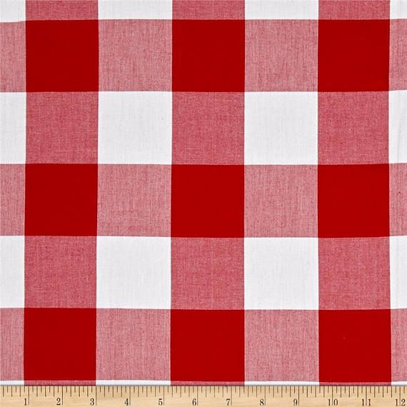 Red White Gingham Polyester Fabric 1 Plaid 60 Wide