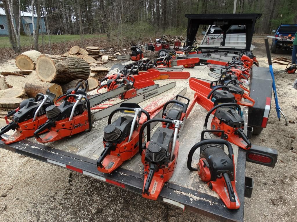 Love seing a flatbed of chainsaws!