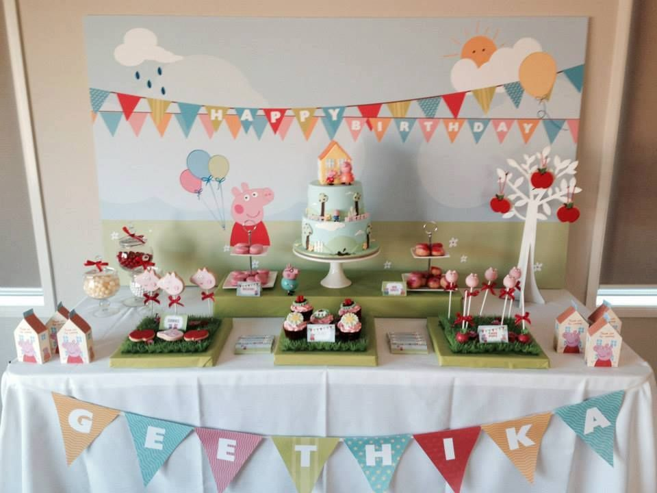 anna and party on explore decor pig by decorations pinterest birthday peppa centerpieces pin more banana