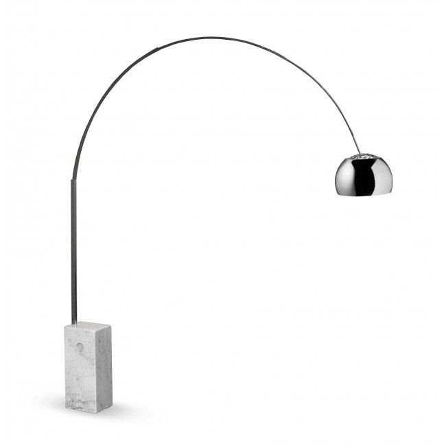 arco floor lamp australia modern arc with rectangular white marble base and completed by chrome finish also bowl shade in stainless steel hood achille castiglioni