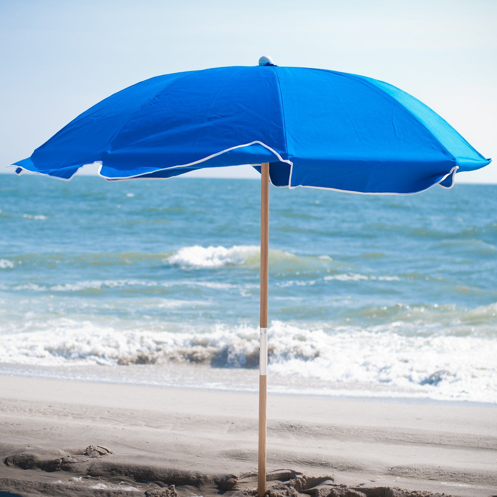 Frankford Umbrella Avalon Collection 7 5 Ft Commercial Fibergl Beach With Ashwood Pole Brown