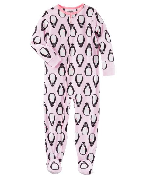 51fa43b21 Baby Girl 1-Piece Penguin Print Microfleece PJs from OshKosh B'gosh. Shop…