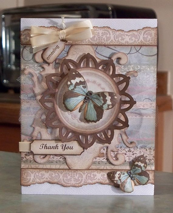 Shabby Chic Thank You Card with Butterflies - Stampin Up Amazing to Zany
