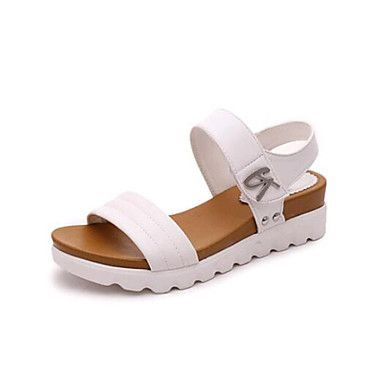 Women S Sandals Spring Summer Club Shoes Novelty Pu Outdoor Office Career Casual Low Heel Wedge Lique Buckle Black White Walking