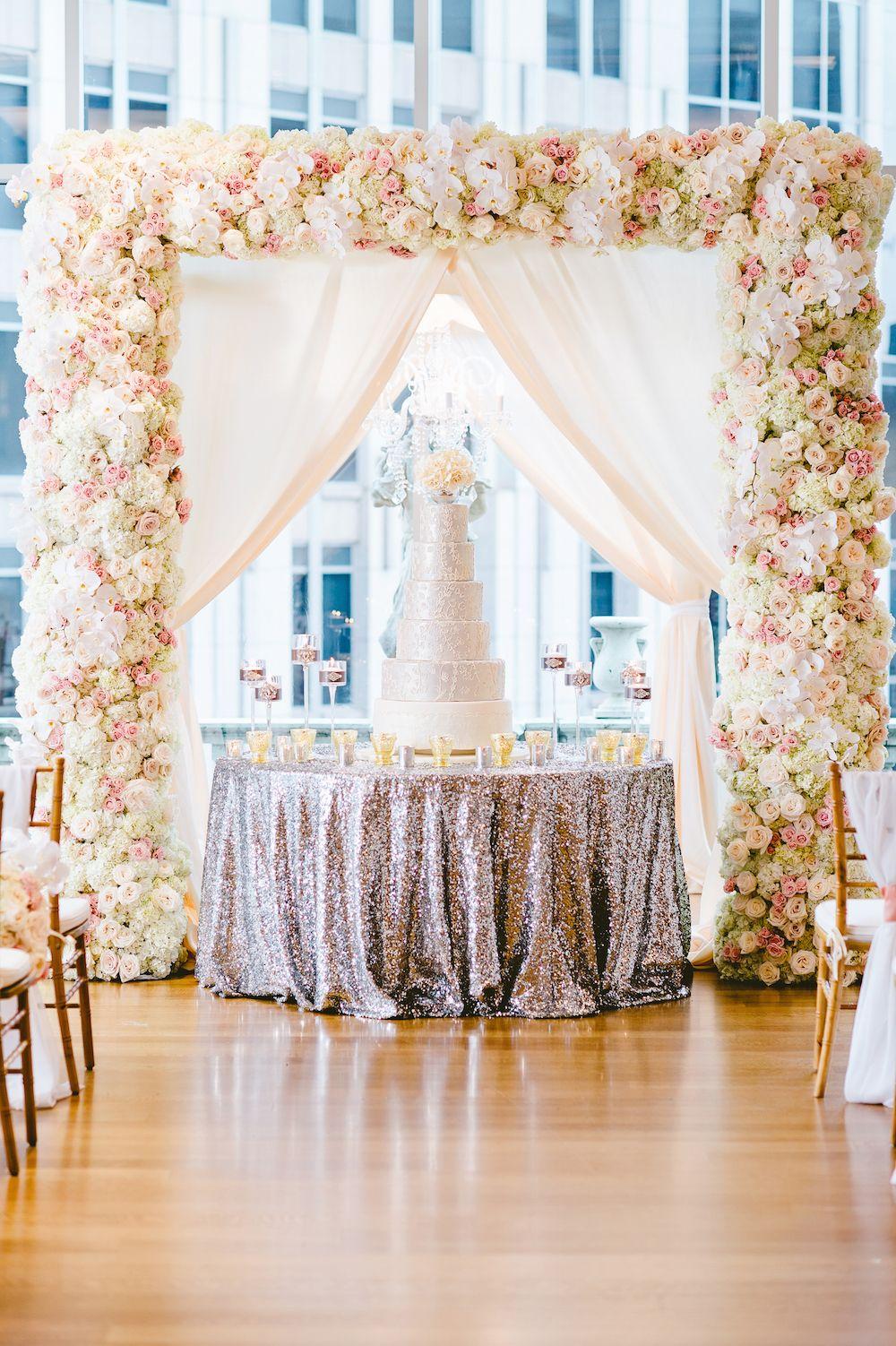 Wedding gate and stage decoration  White u Blush Inspirational Wedding Shoot at Urban Rooftop Garden