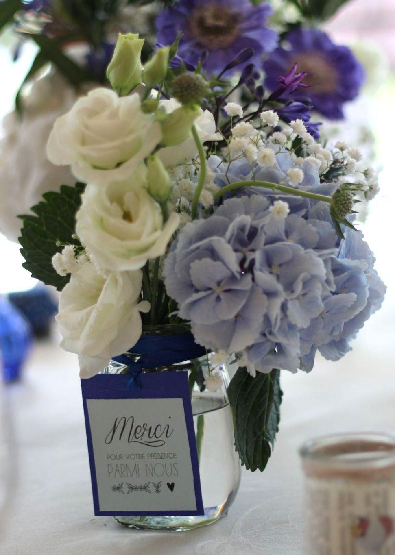 Table mariage bleu hortensias gypsophiles chardons fleurs by farandoll solange alia fleurs - Bouquet table mariage ...