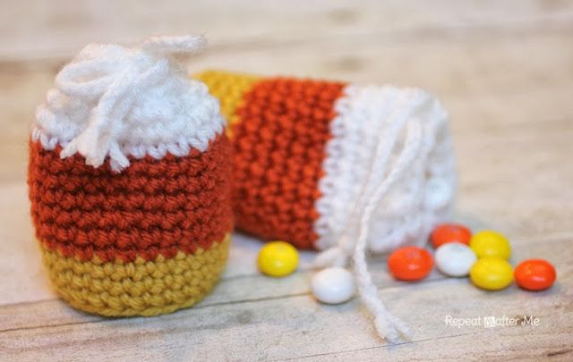Repeat Crafter Me: Crochet Candy Corn Pouch Pattern