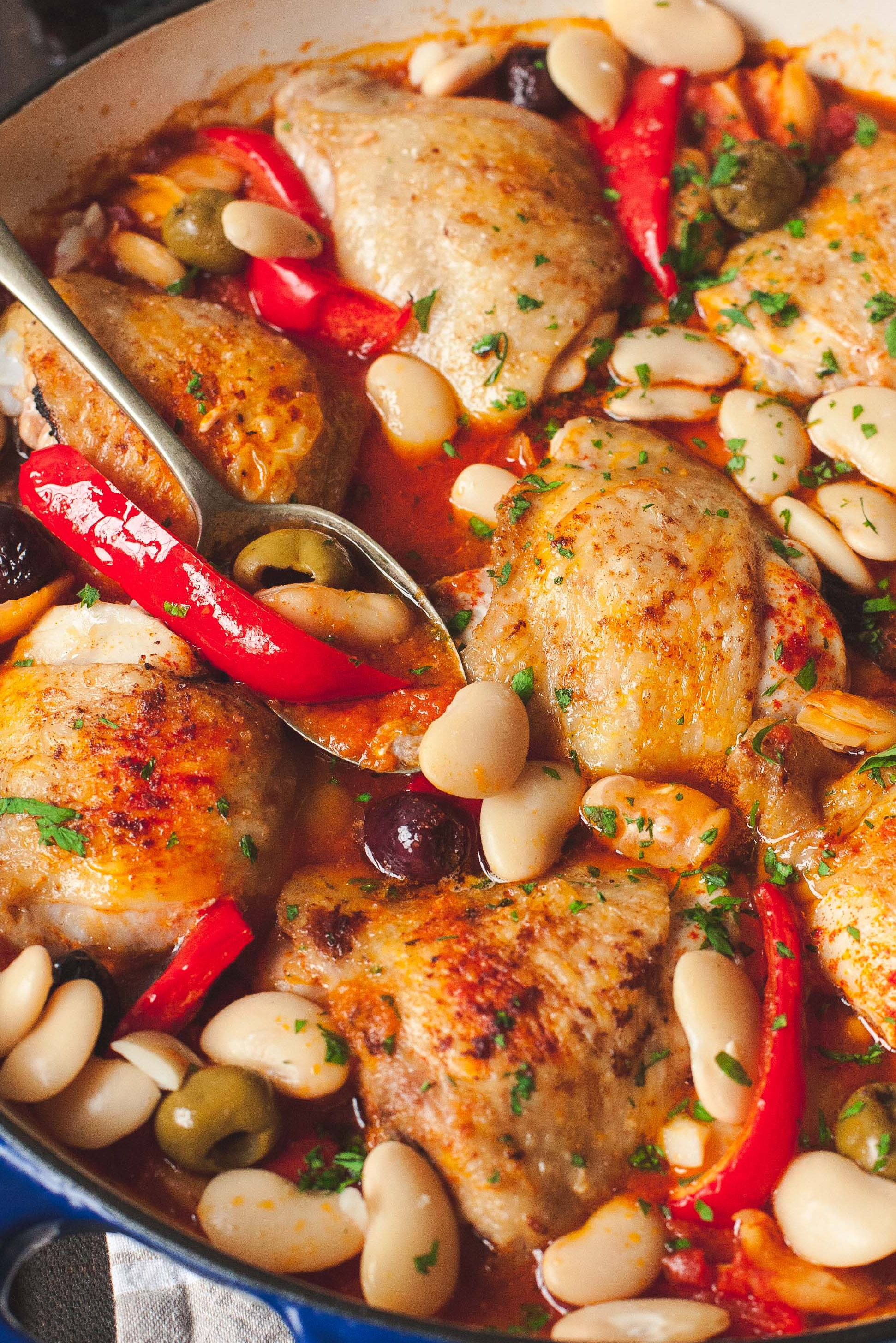 Spanish chicken with red peppers olives and butter beans in fiery food spanish chicken forumfinder Images