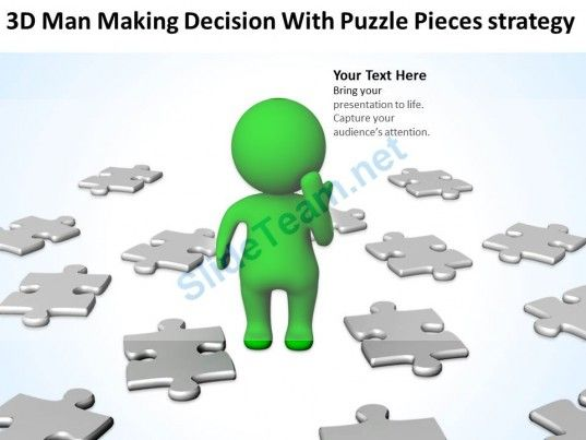D Man Making Decision With Puzzle Pieces Strategy Ppt Graphics