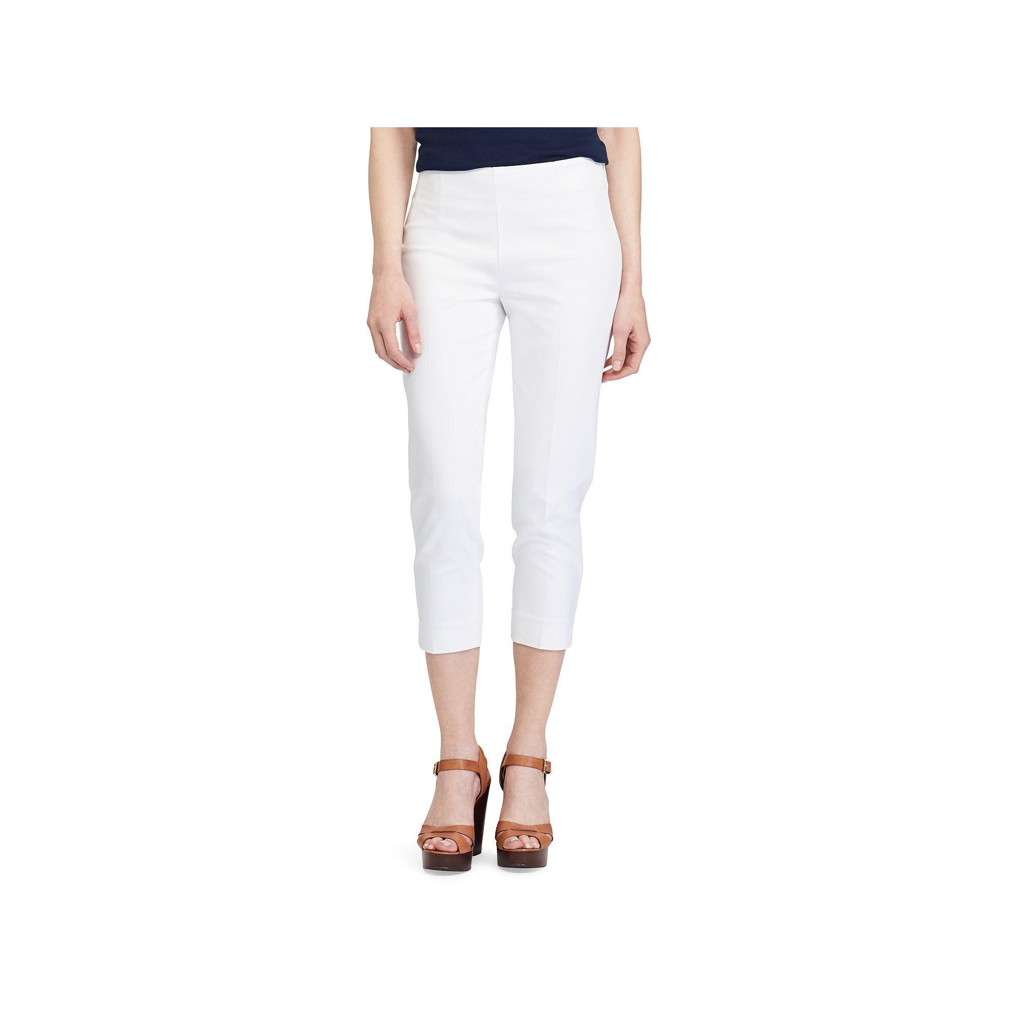 Petite Chaps Stretch Capris, Women's, Size: 16 Petite, White | Size 16