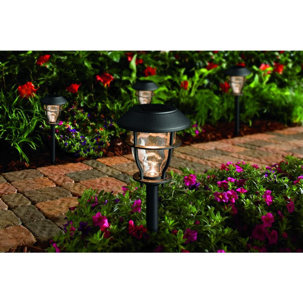 Hampton Bay Solar Black Outdoor Integrated Led 3000k 10 Lumens Landscape Pathway Light 4 Pack Nxt 1685 With Images Solar Led Landscape Pathway Lighting Hampton Bay
