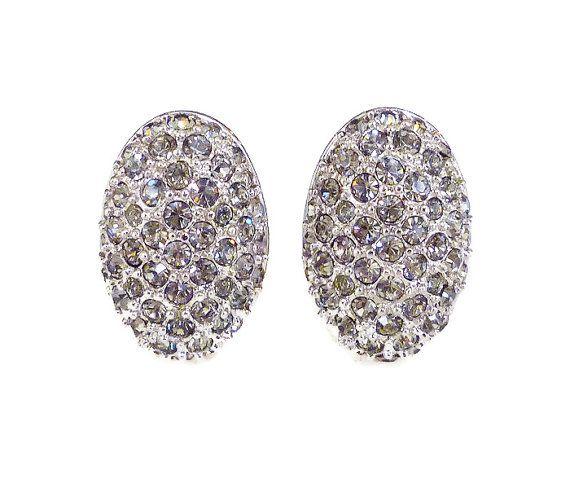 Swarovski Crystal Earrings Gray Rhinestone Silver by zephyrvintage