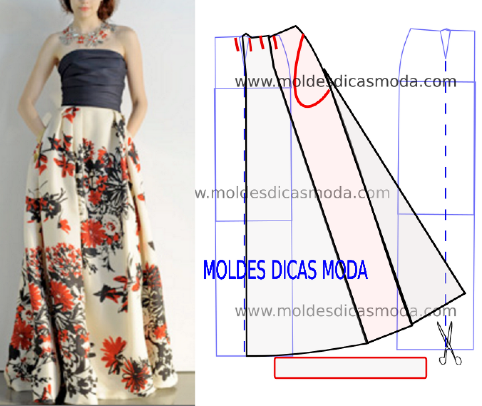722ec26b8235ef SAIA FLORAL LONGA - Moldes Moda por Medida