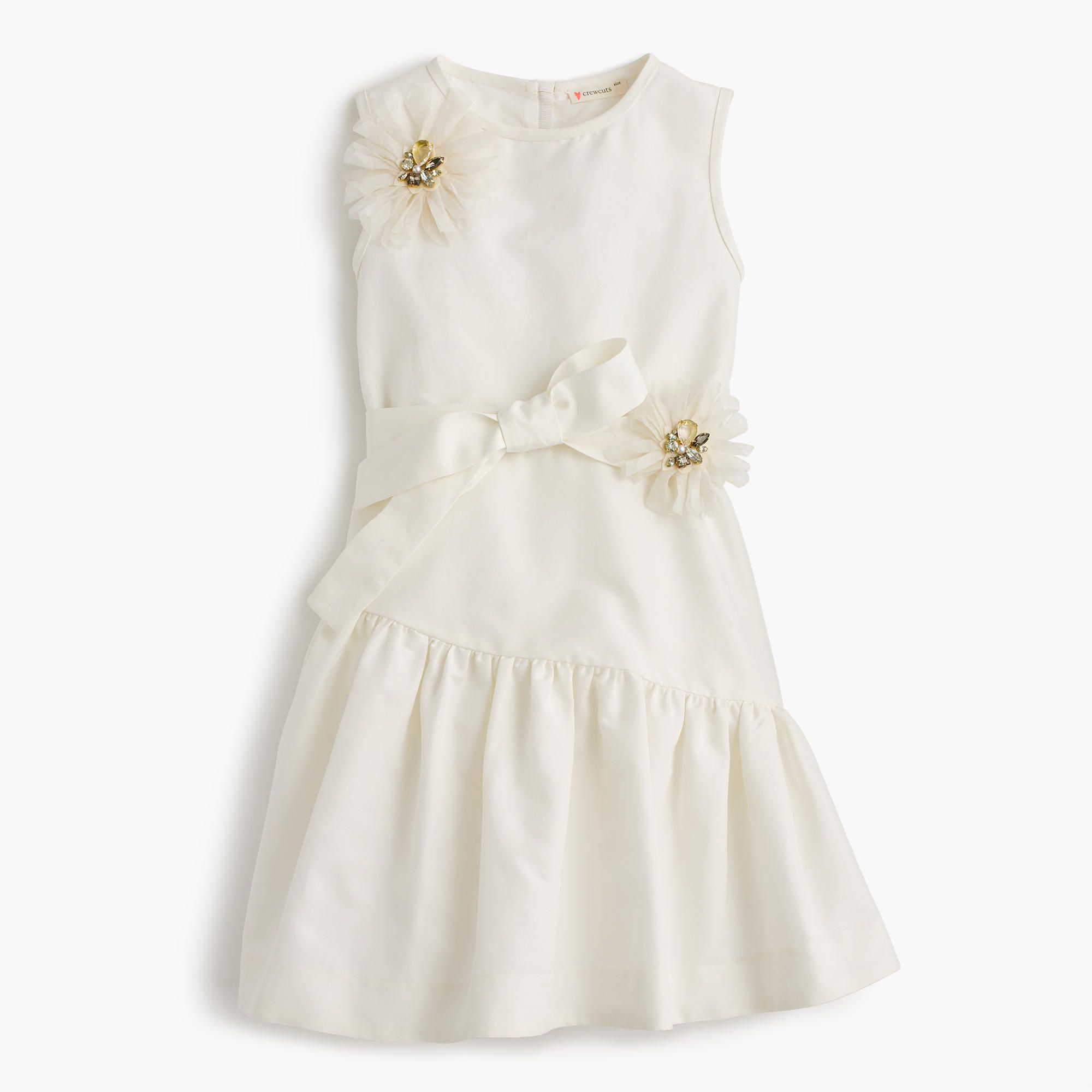 White Silk Taffeta Faille Bow Back Jumpsuit With: Girls' Jeweled Flower Ruffle Dress (With Images)