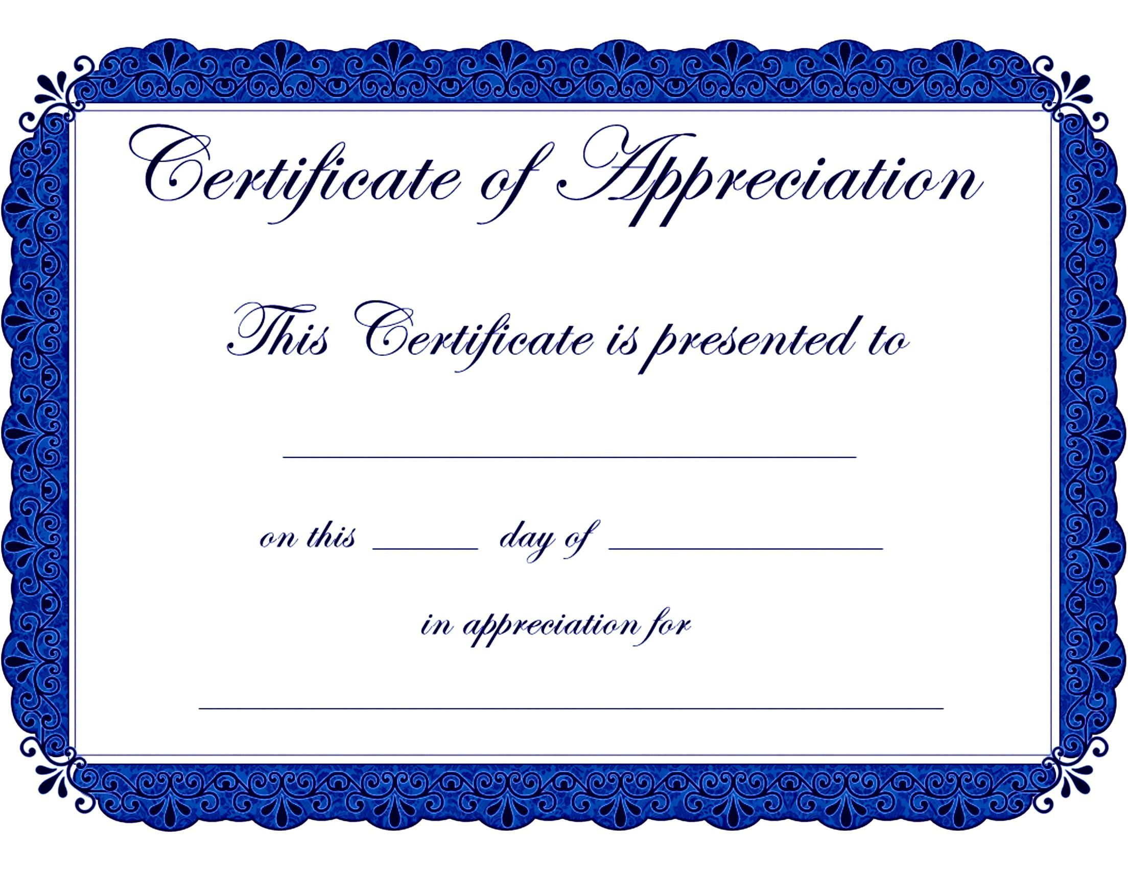 Appealing Award Template Word For Certificate Of Appreciation With Blue  Color Theme And Floral Motif :  Blank Certificate Templates For Word
