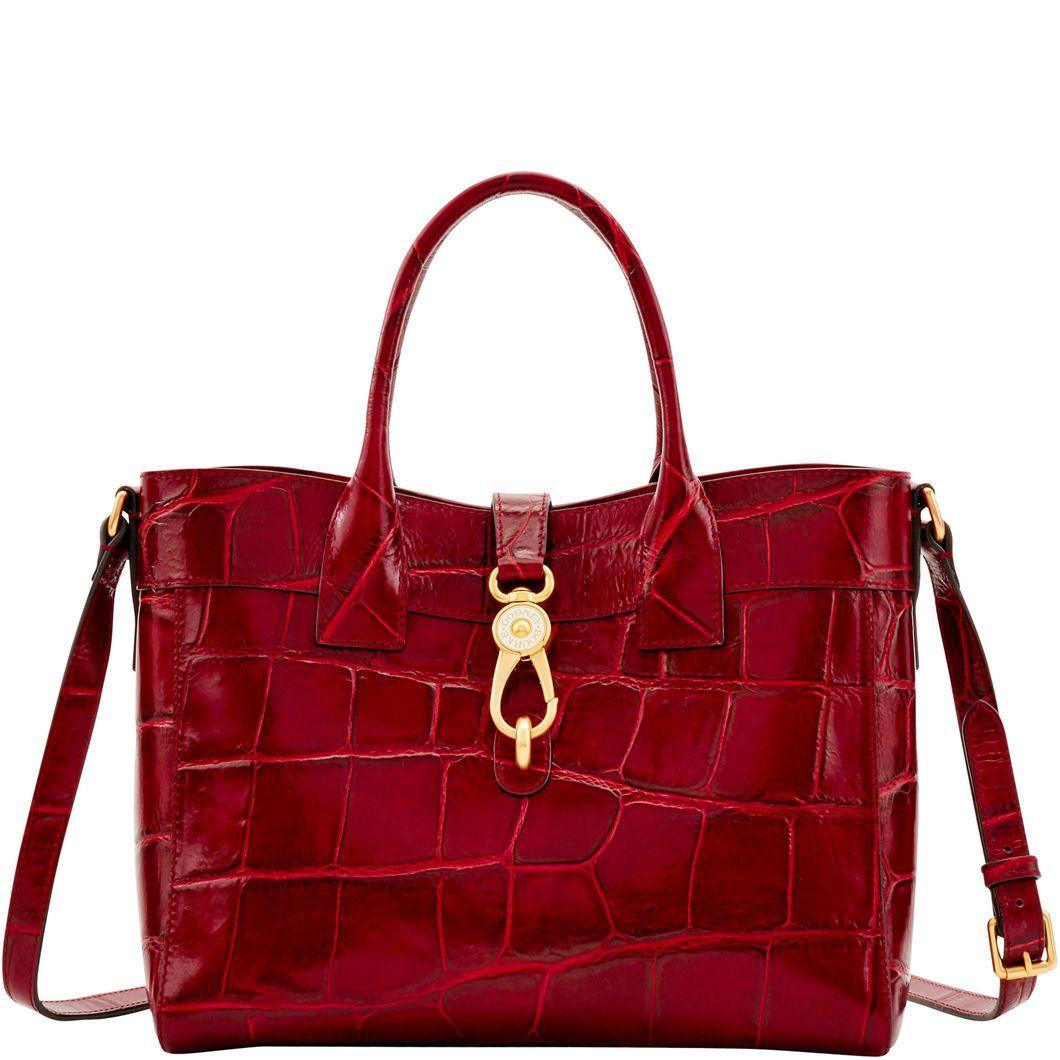 Fab New Dooney Bourke Pembrook Wine Amelie Dog Clip Closure Tote Shoulder Bag Leather Handbags Tote Genuine Leather Purse Womens Fashion Handbags