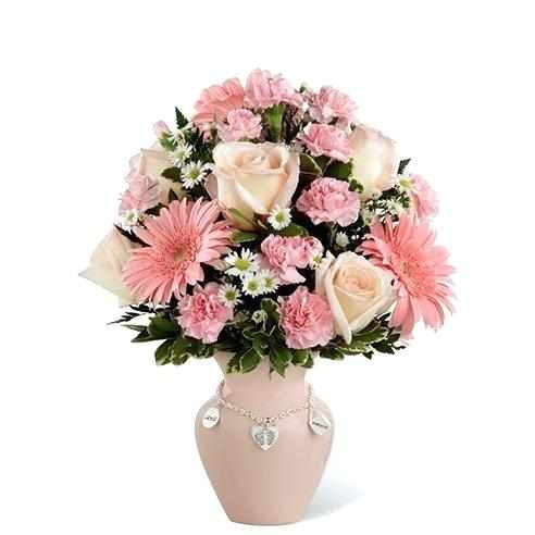 Wishes For New Mom Flower Arrangement With Pink Roses Carnations And Daisies Birthday Daughter Hindi Flower Arrangements Pink Carnations Mini Carnations