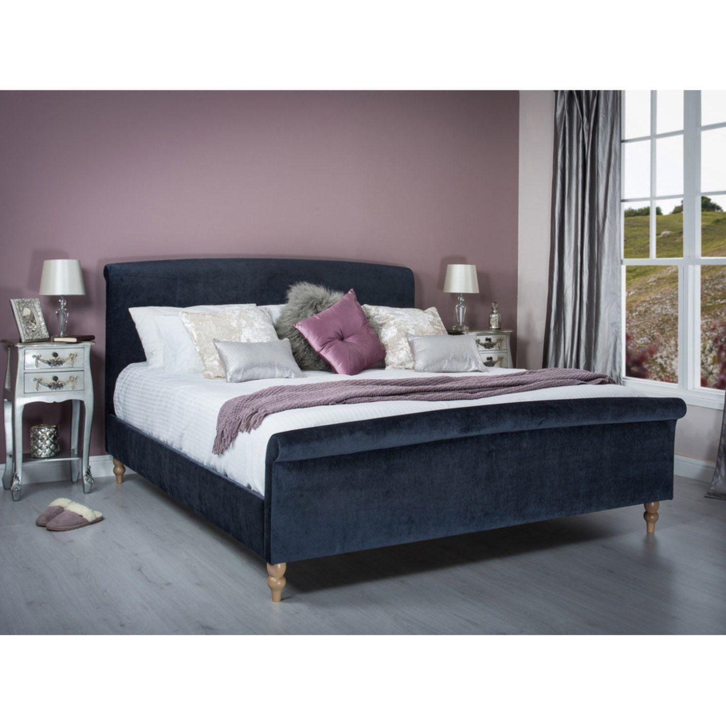 Zafia King Velvet Fabric Bed Frame Midnight Blue Cheap King