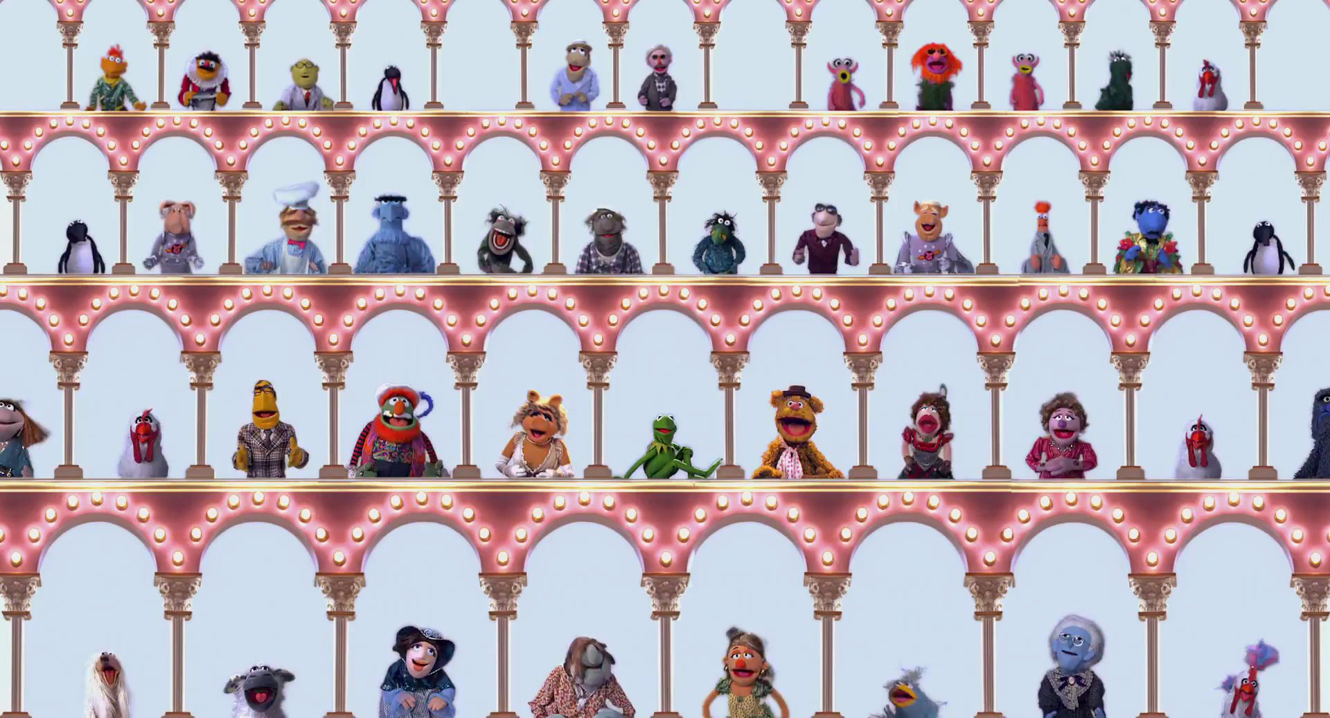 Image from The Muppet Show intro showing muppets in a colonnade like people in Zoom windos