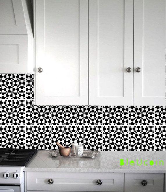 Bleucoin Tile Decal Backsplash: Art Deco Cube Tile Wall Vinyl Decal For Kitchen Bathroom