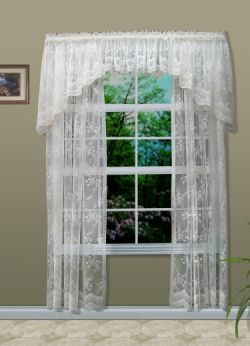 One Single ELIZABETH Vintage Victorian Lace Slot Top Header Voile Curtain Panels