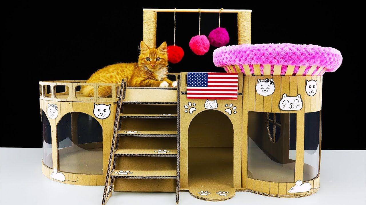 How To Make Amazing Kitten Cat House From Cardboard At Home Cardboard Cat House Cat House Diy Cat House