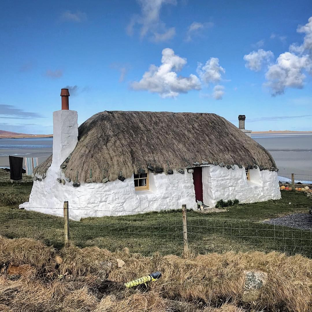 North Uist. Thatched roof cottage beside the sea. Lovely