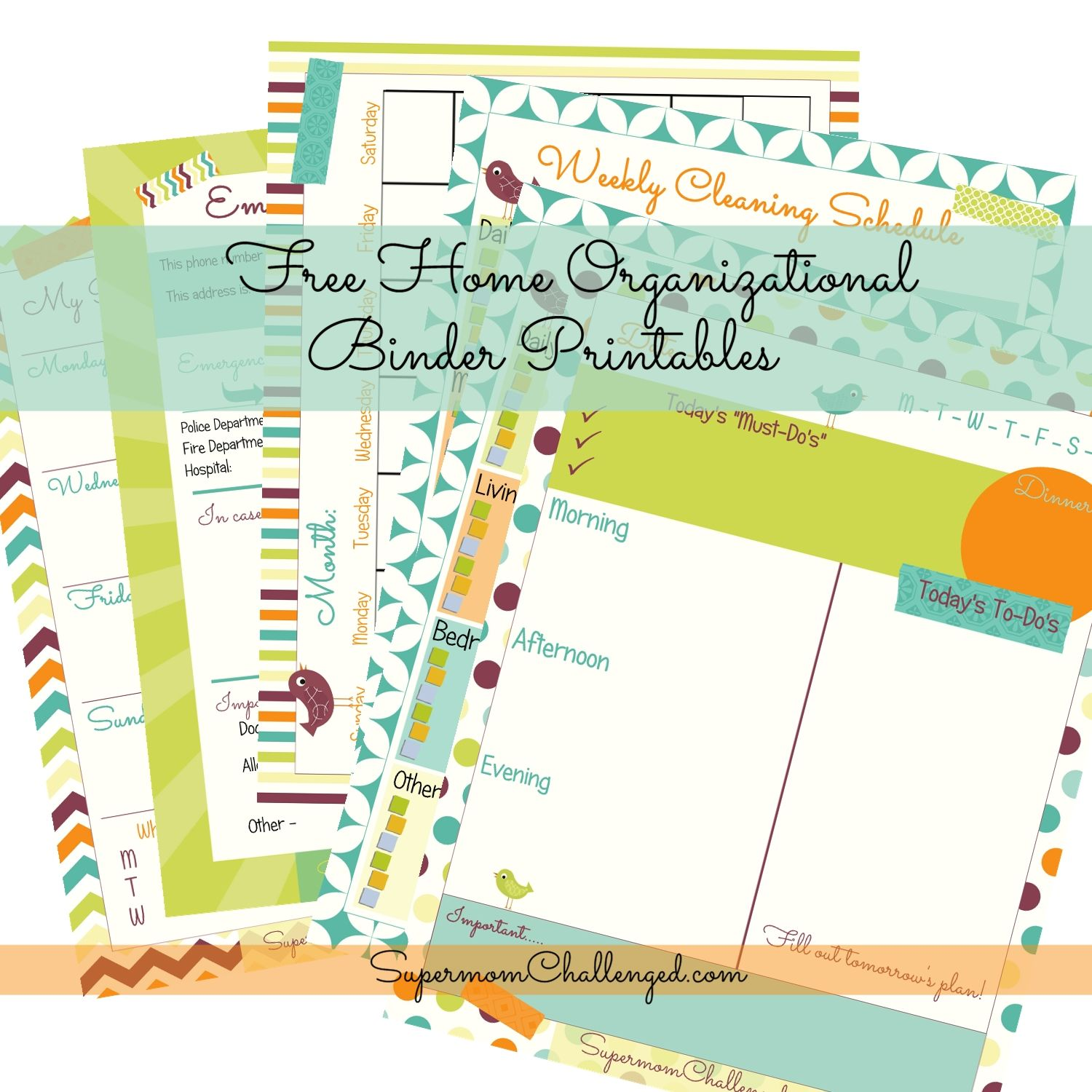 Bright Colors Home Organization Binder Printables