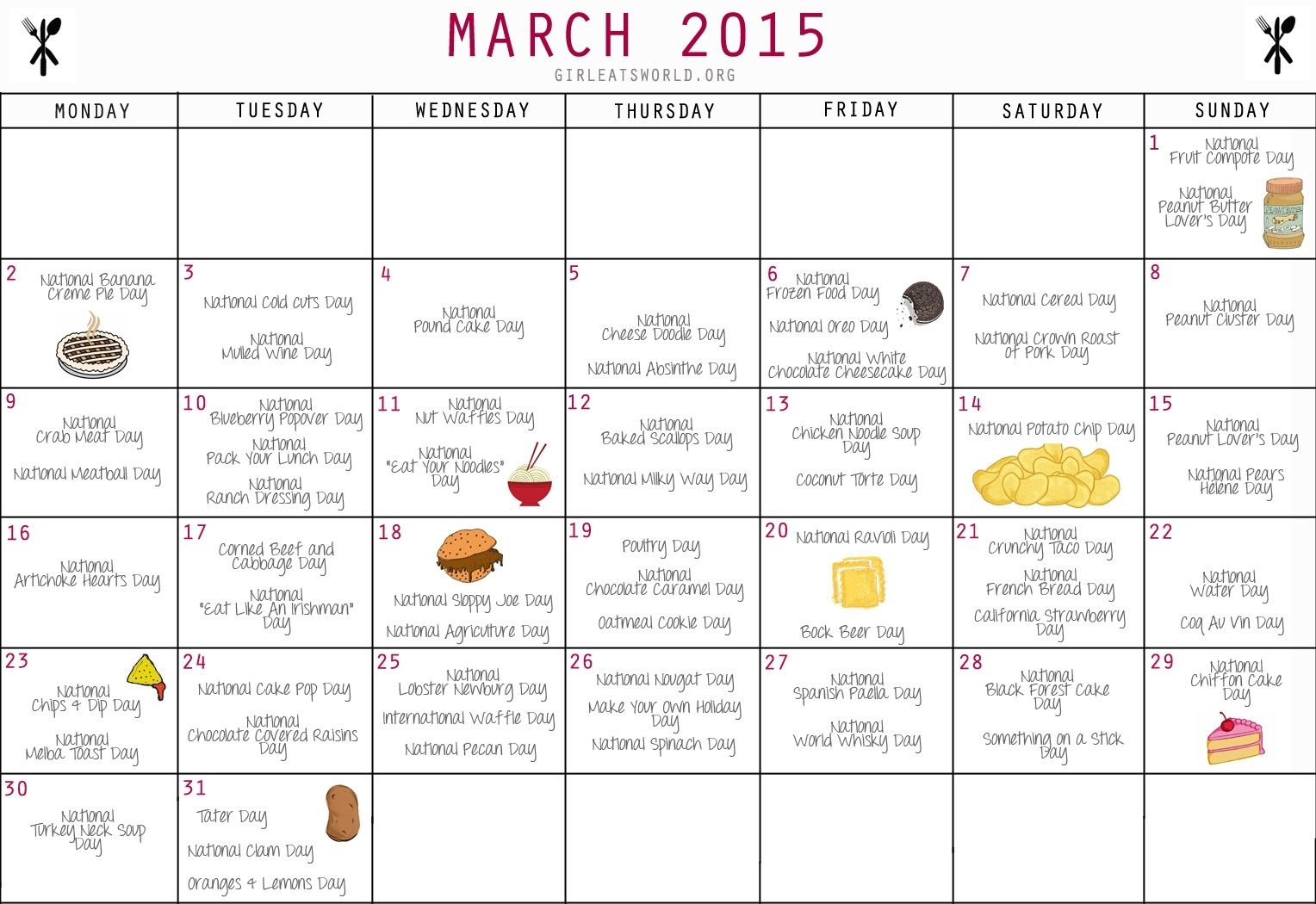 National Food Holidays March 2015 Girl Eats World Free