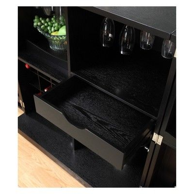 Proman Products California Fold Away Bar Cabinet Black Cabinets Online Cabinet Bar