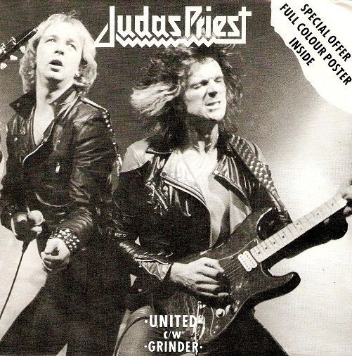 JUDAS PRIEST United Vinyl Record 7 Inch CBS 8897 1980 EX Poster Sleeve