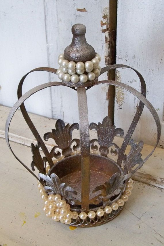 large decorative metal crown painted shimmer bronze accented pearls home decor anita spero - Large Home Decor
