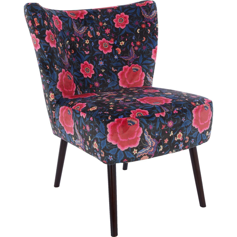 Best Black Velvet Floral Chair 77X63 Floral Chair Patterned 400 x 300