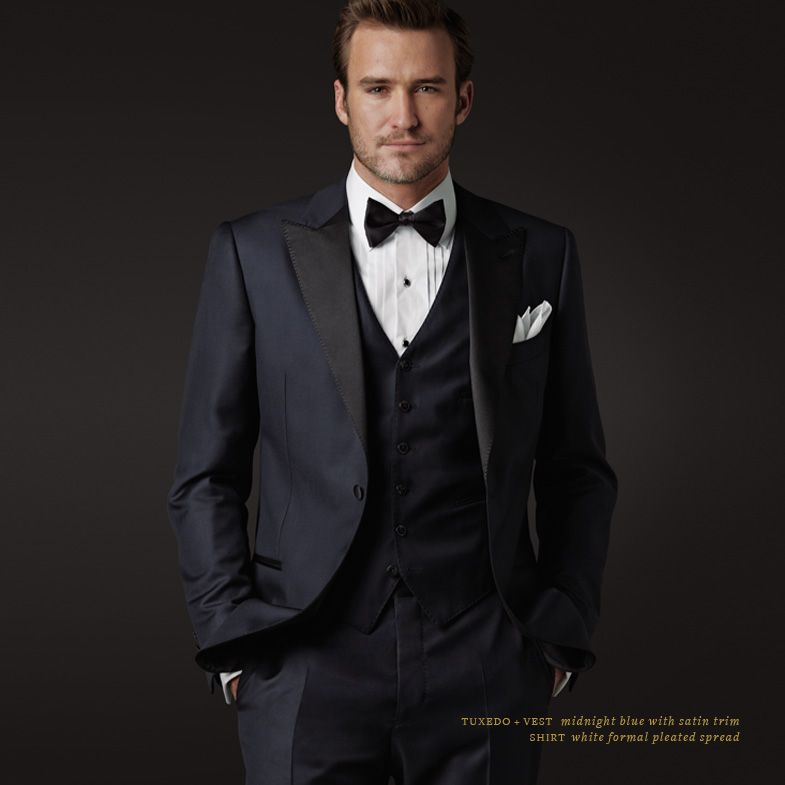 J Hilburn midnight blue made-to-order tuxedo and vest with custom ...