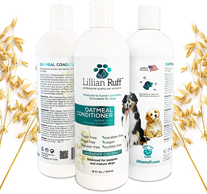 Amazon Com Lillian Ruff Dog Oatmeal Conditioner Lavender Coconut Scent For Itchy Dry Skin With Dry Itchy Skin Oatmeal Dog Shampoo Moisturizer For Dry Skin