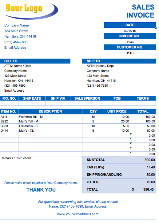 Free Excel Invoice Templates Invoice Pinterest Template And